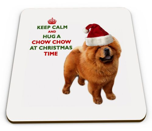 Christmas Keep Calm And Hug A Chow Chow Novelty Glossy Mug Coaster